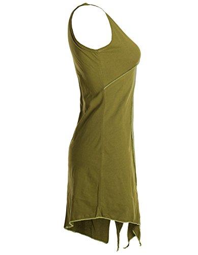 Vishes - Alternative Bekleidung - Ärmellose Asymmetrische Patchwork Zipfeltunika aus Biobaumwolle Olive bKq9VO