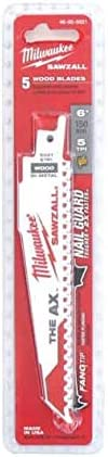 Pack de 5 lames de scie sabre AX bi-metal//co 150 mm MILWAUKEE SAWZALL 5 TPI 48005021