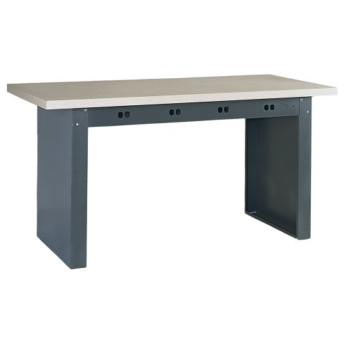 "Edsal E7200 Steel Electronic Modular Basic Bench with Plastic Top, 72"" Width x 36"" Depth, Industrial Gray"