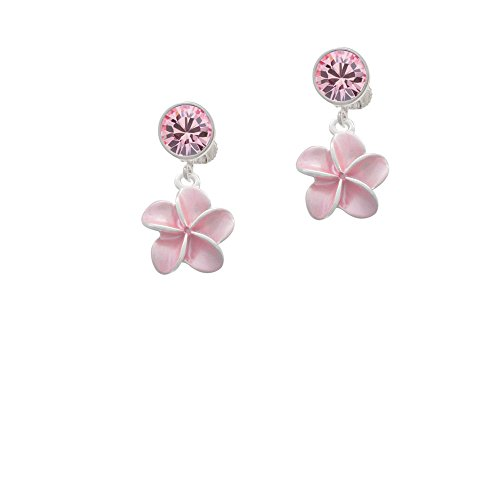 (Silvertone Pink Plumeria Flower - Pink Crystal Clip on Earrings)
