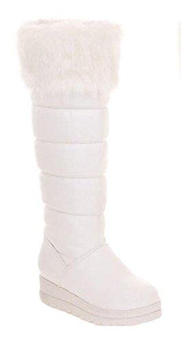 Chfso Donna Elegante Impermeabile In Eco-pelliccia Foderato Tirare Su Ginocchio Alta Metà Piattaforma Tacco Inverno Caldo Stivali Da Neve Bianco
