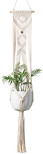 Mkono Macrame Plant Hanger Hanging Planter with Bead Wall Art Home Decor 46 inches