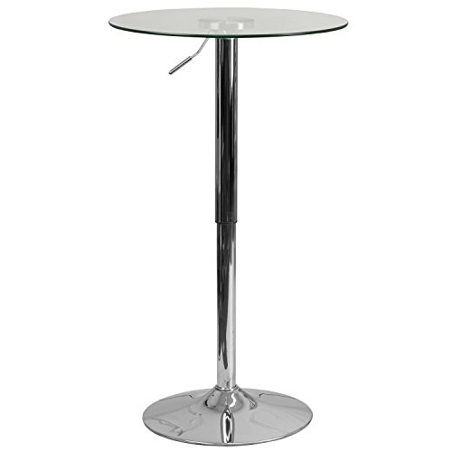 Flash Furniture 23.5'' Round Adjustable Height Glass Table (Adjustable Range 33.5'' - 41'') (Counter Top Glass Height Table Round)