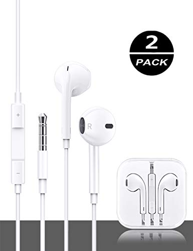Earbuds/Earphones/Headphones, (2 pack)Stereo Microphone and Remote Control Noise Isolation In-Ear Headphones, Compatible with iPhone/iPod/iPad/Samsung/Huawei/MP3/MP4/MP5