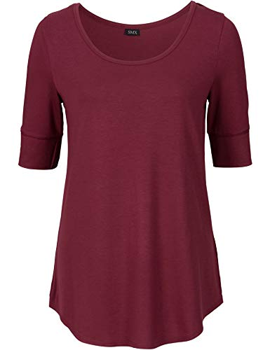 - Long Cotton Fitted Tshirts for Women 1/2 Sleeved Plain Tops, Peacock Green, XX-Large