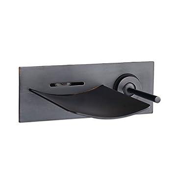 Wovier LED Oil Rubbed Bronze Wall Mount Bathroom Sink Faucet Water Flow,Single  Handle Single