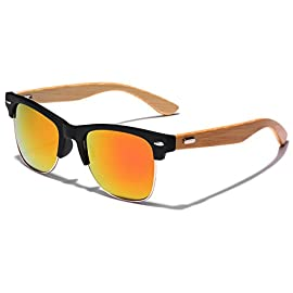 Semi Rimless Classic Bamboo Wood Sunglasses with Color Mirror Lenses 112 Classic Horn Rim Shaped Frame Sunglass Arms Made out of Bamboo One size fits most