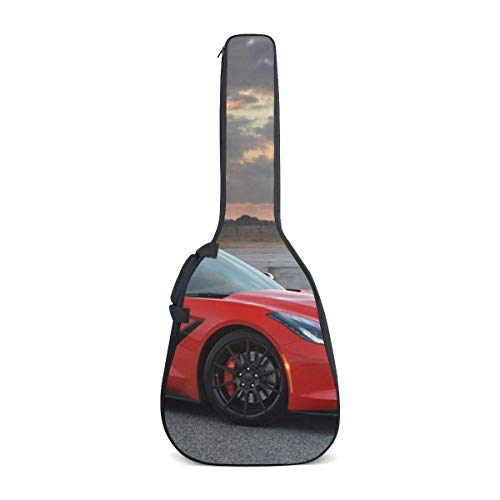 - 2014 Hennessey Corvette Stingray Red Auto Independence Day Waterproof Canvas 40 41 Inch Guitar Gig Bag Cover Case With Double Backpack Straps