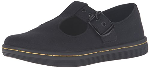 Dr. Martens Women's WOOLWICH Mary Jane Flat, Black Canvas, 6 Medium UK (8 US)