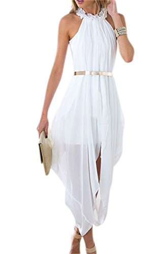 Women's Sheer Chiffon Folds Hi Low Loose Dress Delicate Gold Belt Casual Beach Party Dress White Medium