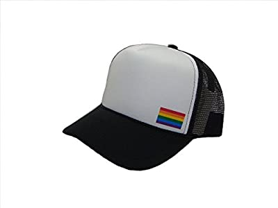 THS Rainbow Gay Pride Flag Side Logo Mesh Trucker Cap (One Size, Black/White)