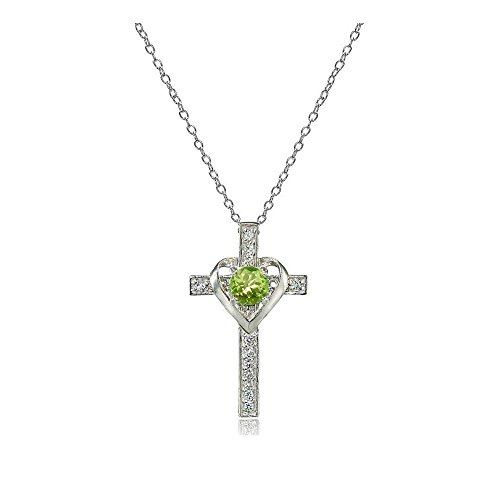 Glitzs Jewels Sterling Silver Peridot & White Topaz Heart in Cross - Cross Peridot Topaz