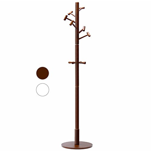 LCH Wood Standing Coat Rack Hall Tree Coat Tree with 10 Hammer Shaped Hooks, Coffee by LCH