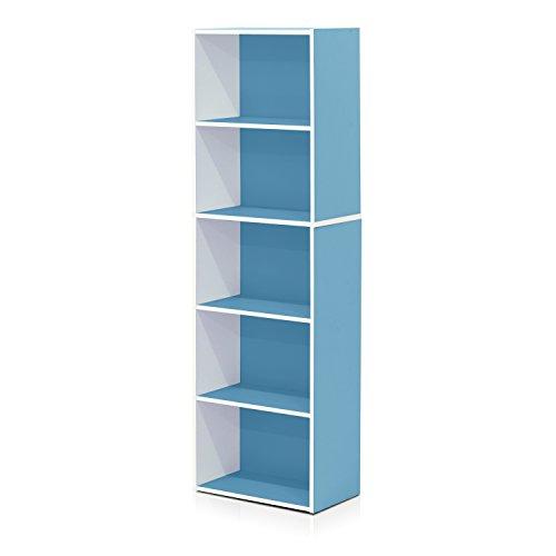 Furinno 5-Tier Reversible Color Open Shelf Bookcase , White/Light Blue (Open Bookcase Unit)
