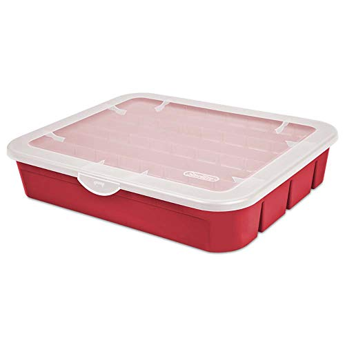 (Sterilite 20 Compartment Adjustable Christmas Holiday Ornament Storage Box, Red)