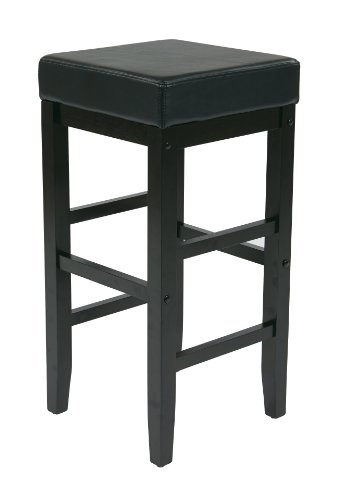 Office Star Metro Faux Leather Square Barstool with Espresso Legs, 30-inch, Black (Cheap Breakfast Stools Bar)