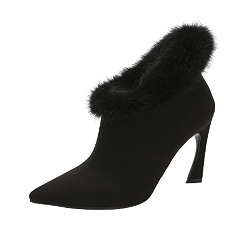 Fereshte Fashion Sweety Pointed-toe Faux Fur All-matched Ankle Boots Black C7sX5