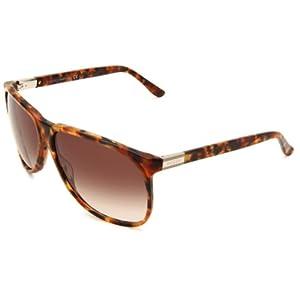 Gucci Men's 1002/S Rectangle Sunglasses,Havana Frame/Grey Gradient Lens,One Size