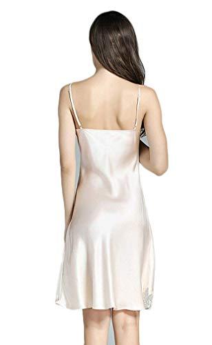 Dormir Pijama Camisones Vintage Silk Sin cuello V Camisón Suave Gelb Splice De Mujer Elegante Cómodo Mangas Ropa Vestido Sling Encaje Cortos Verano 0Fxp5wSxUq