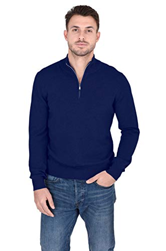 Cashmeren Men's 100% Pure Cashmere Classic Knit Soft Half Zip Mock Neck Pullover Sweater (Navy, Large)