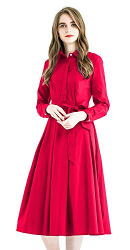 Zredurn Women's Elegant Pleated Shirt Dress with Long Sleeve Pleated Belted A-Line Dress Style (Rose Red, XL)