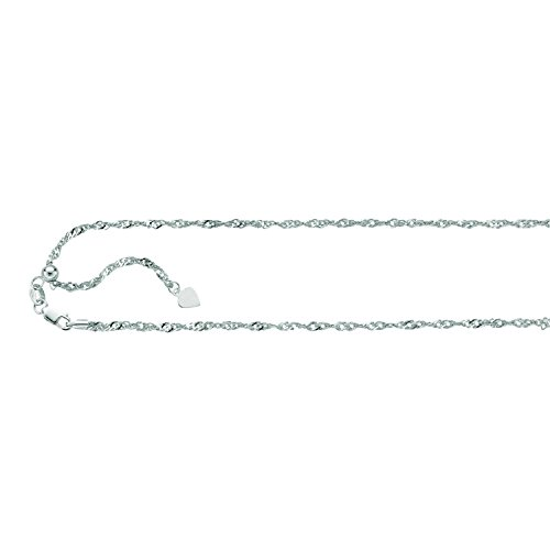 14K Solid White Gold Adjustable Singapore Chain Necklace 1.1mm thick 22 Inches ()