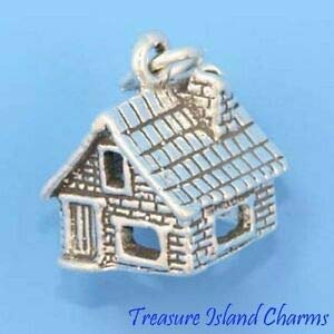 Harissa Dorothy's House Wizard of Oz 3D 925 Sterling Silver Charm Made in USA Crafting, Bracelet Necklace Jewelry Findings Jewelry Making Accessory