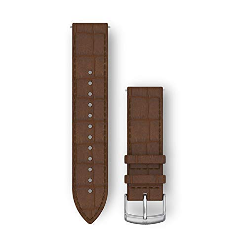 Garmin Quick Release Band, 20mm, Dark Brown Embossed Italian Leather with Silver Hardware