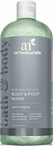 Art Naturals Body Wash w/ Tea Tree, Peppermint & Eucalyptus Oil - Natural Eczema Bath Soap for Antifungal Foot and Body Helps Kill Nail Fungus, Athletes Feet, Ringworm, Jock Itch & Odors - 12oz