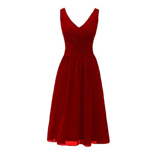 Bridal_Mall Mujer V-cuello de la madre de la marina de guerra verde vestido de dama Rosso