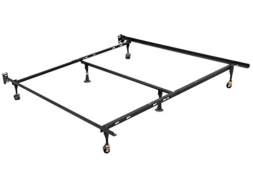 go2buy Metal Platform Bed Frame Adjustable Twin, Full, Queen Size Mattress Foundation Base with Center Support and Trundle