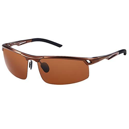 DUCO Men's Sports Style Polarized Sunglasses Driver Glasses Metal Frame 8550 (Brown Frame Brown Lens)