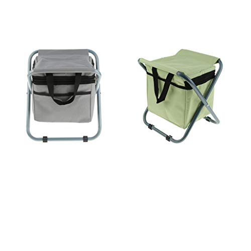 SM SunniMix 2PCS Premium Stool Camping Seat Backpack Folding Fishing with Insulated Cooler Bag for Outdoor Picnic Beach Travel