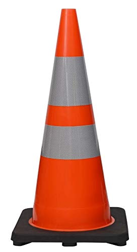 CJ Safety 28' Height Orange PVC Traffic Safety Cones with Black Base & 6' + 4' Reflective Collars (8 Cones)