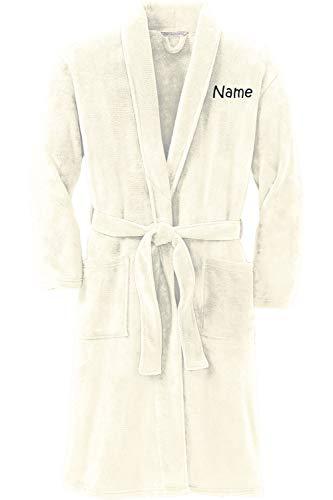 Personalized Plush Microfleece Robe with Embroidered Name, Marshmallow, Small/Medium (Bathrobes Monogram)