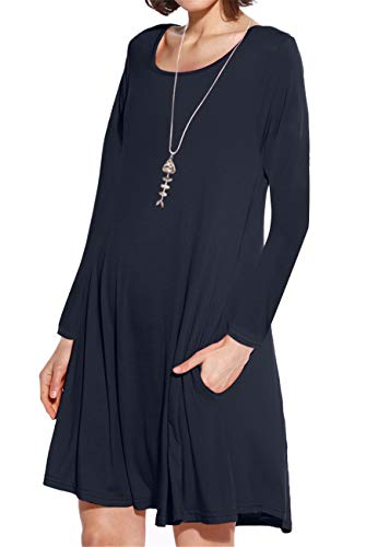 JollieLovin Women's Pockets Long Sleeve Casual Swing Loose Dress (Navy Blue, 1X)]()