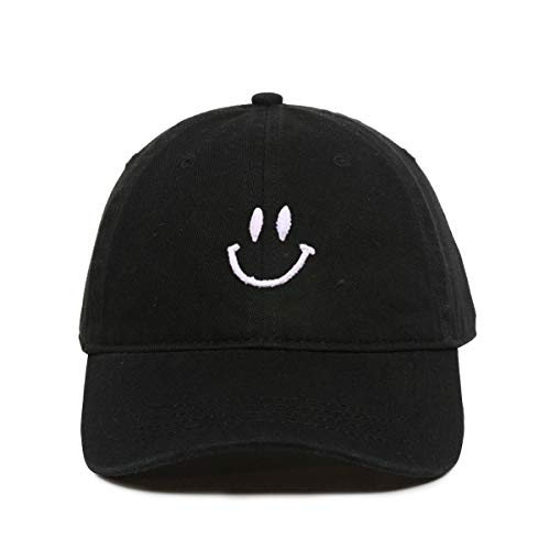 DSGN By DNA Smiling Smiley Face Baseball Cap Embroidered Cotton Adjustable Dad Hat Black