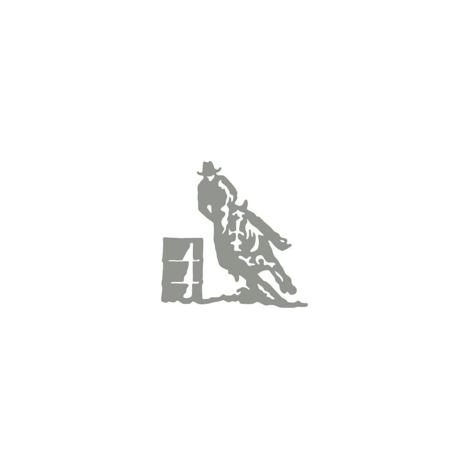 Horse Barrel Racer medium 7 Tall SILVER/GREY vinyl window decal sticker