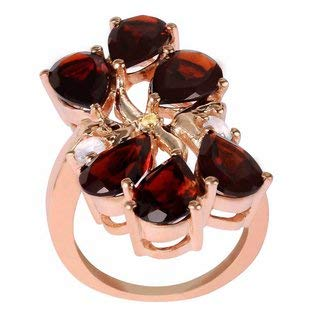 - 6.07 Ct Genuine Garnet, White Topaz & Citrine Gemstone Gift Multi Birthstone Ring By Orchid Jewelry : Anniversary Rings For Women, 18K Pink Gold Over Sterling Silver Ring For Her, Fashion Rings Size 7