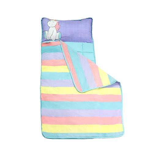 Homezy Unicorn Toddler Nap Mats for Preschool Kinder Daycare - Blanket + Pillow for Boys or Girls - Foldable Comfy Cover (Unicorn)