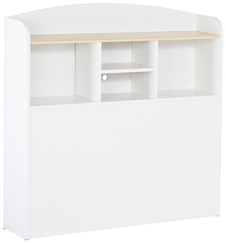 Maple Finish Twin Headboard - South Shore Summertime Bookcase Headboard with Storage, Twin 39-inch, Pure White