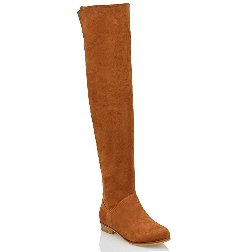 Suede Flat Faux ESSEX Boots Suede 8 Knee The Tan Faux Ladies Over HIGH Long HIGH Thigh 3 Womens GLAM Size YBY1H