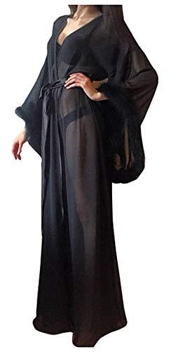 Women Sexy Fur Collar Perspective Sheer Long Lingerie Robe Nightgown Bathrobe Pajamas Sleepwear (Black, 2XL)