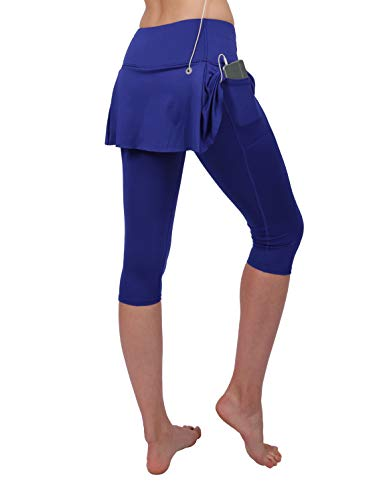 (slimour Women Skirted Leggings High Waisted Capri Leggings with Pockets Yoga Pants Workout Blue 4 )