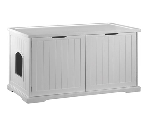 Multifunctional Pet Cat Washroom Bench With Hidden Litter Box Cover Enclosure White