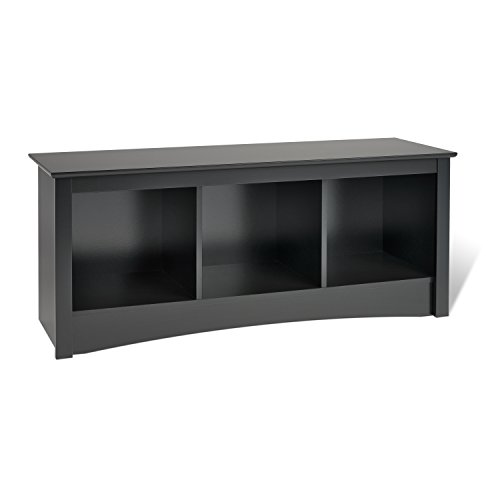 Prepac Sonoma 3-Cubbie Bench, Black (Of Bench Bed Storage End)