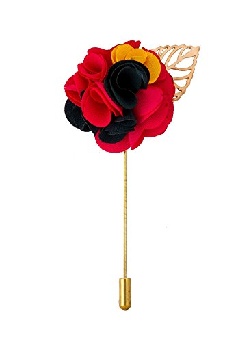 Brooch Yellow Leaf Gold - Knighthood Men's Avaron Projekt Handmade Red Black & Yellow Flower Bunch with Gold Leaf Lapel Pin/Brooch Multi-Colour