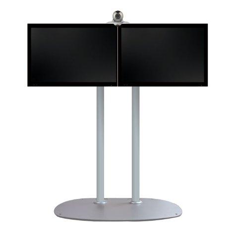 TV-Ständer Heavy Duty Farbe (Gestell): Silber, Farbe (Säule): Silber