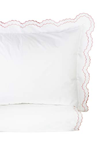 (Melange Home Percale Cotton Double Scalloped Embroidered FQ Duvet Set, Full/Queen, Pink on White)