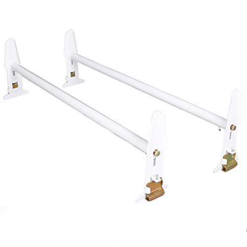 (ECOTRIC Adjustable Van Roof Ladder Rack 500LBS 2 Bars for Chevy Dodge Ford GMC Express)